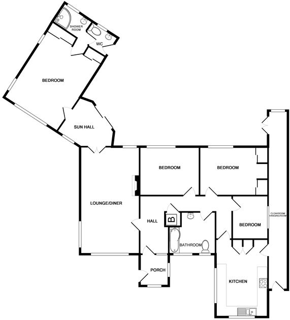 The first floor plan for Tristram Steps, a self catering holiday house to rent in Polzeath, Cornwall.