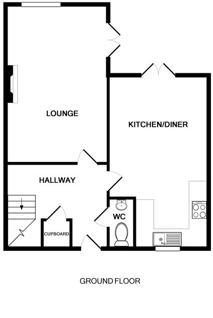 The ground floor plan of 2 Lundy Cottage, a holiday house to rent in Rock, Cornwall