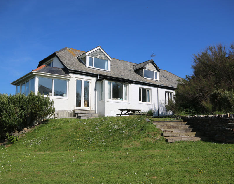 An  exterior view from the garden of Gullsway;Sandpiper, a clifftop holiday retreat to rent in Polzeath, Cornwall