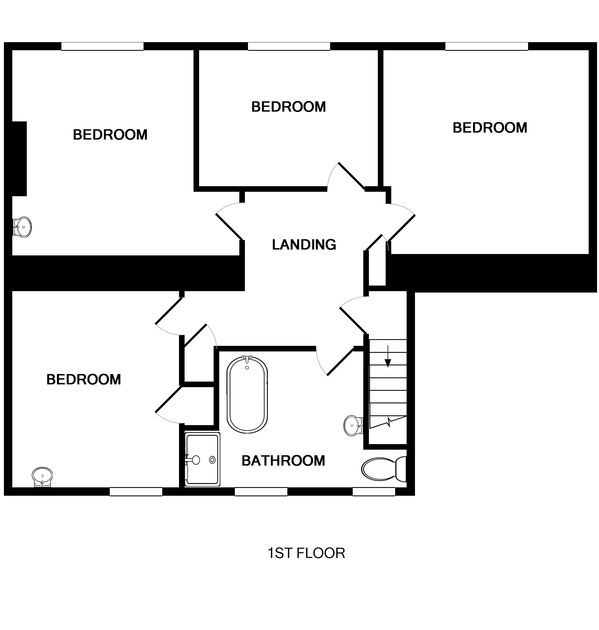 The first floor plan for Trewint Farmhouse, a pet friendly self catering holiday house to rent near Daymer bay in Cornwall.
