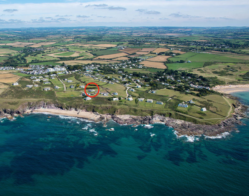 Aerial view of the house Upper Gren showing the position next to the sea and coastal. Upper Gren, a self-catering holiday house near Daymer Bay, Cornwall