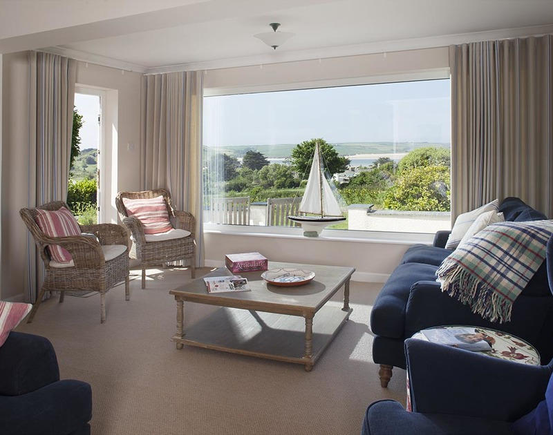 Lovely views of Brae Hill and the Camel Estuary are enjoyed from the living room of Bay View Cottage, holiday home near Daymer Bay, Cornwall
