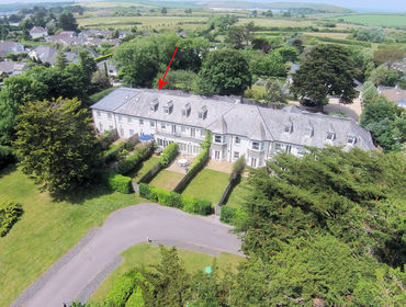 An aerial view of Lowenna Manor 3 self catering holiday house in Rock, North Cornwall.