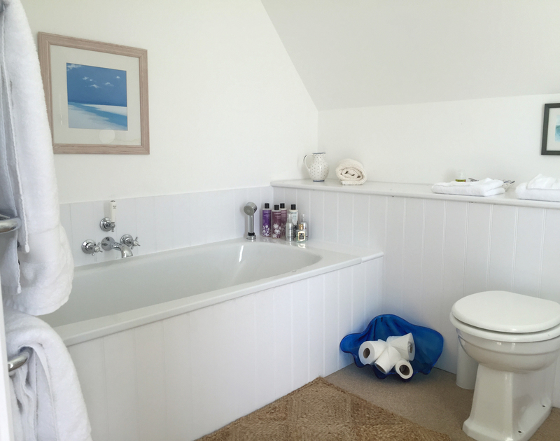 One of four modern white bathrooms at Greenaway Heights, a coastal holiday house to rent in North Cornwall.