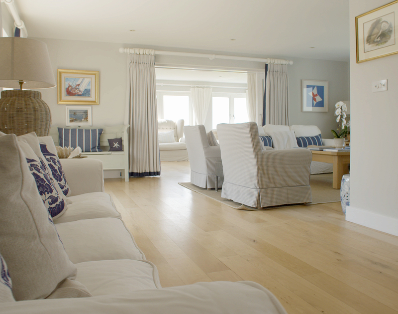 The large open plan ground floor of Greenaway Heights self catering holiday home in Daymer Bay, North Cornwall.