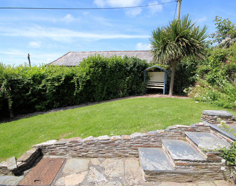 Private and sheltered lawned garden with hedging,slate steps and a Cornish Palm at holiday rental Tamarisk in Port Isaac, Cornwall.