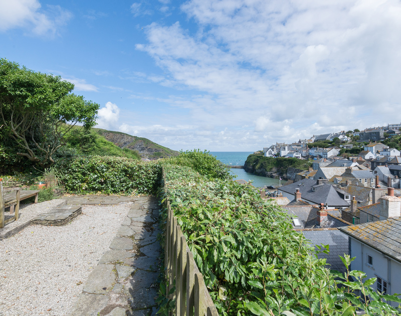 View of the sunny terrace belonging to 22,Church Hill Port Isaac, on the North Coast of Cornwall.