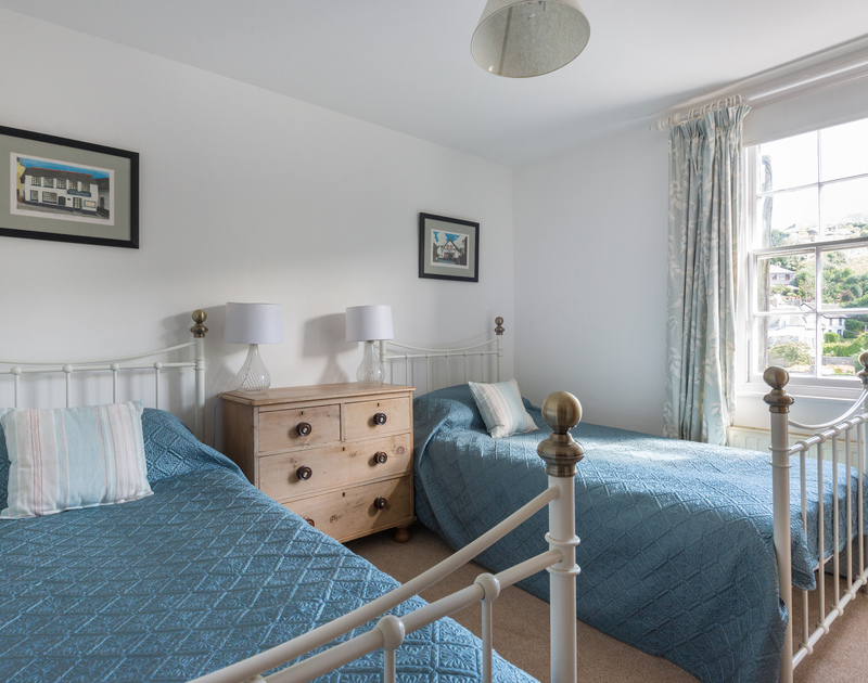 Twin bedroom of self catering holiday house 22, Church Hill on the North Coast of Cornwall.