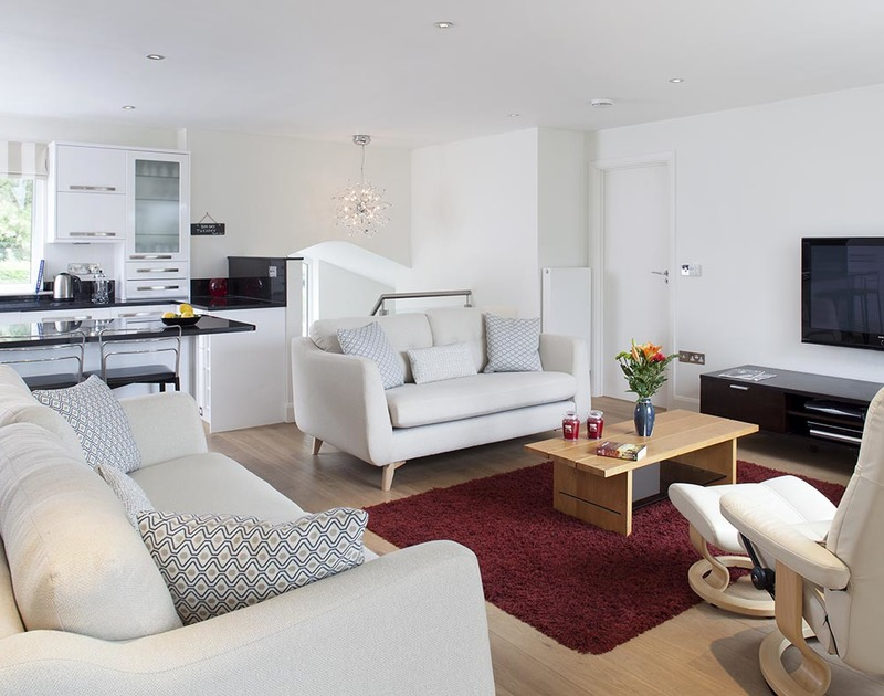 The calm and restful open plan living room at Lyonnesse in Rock, North Cornwall