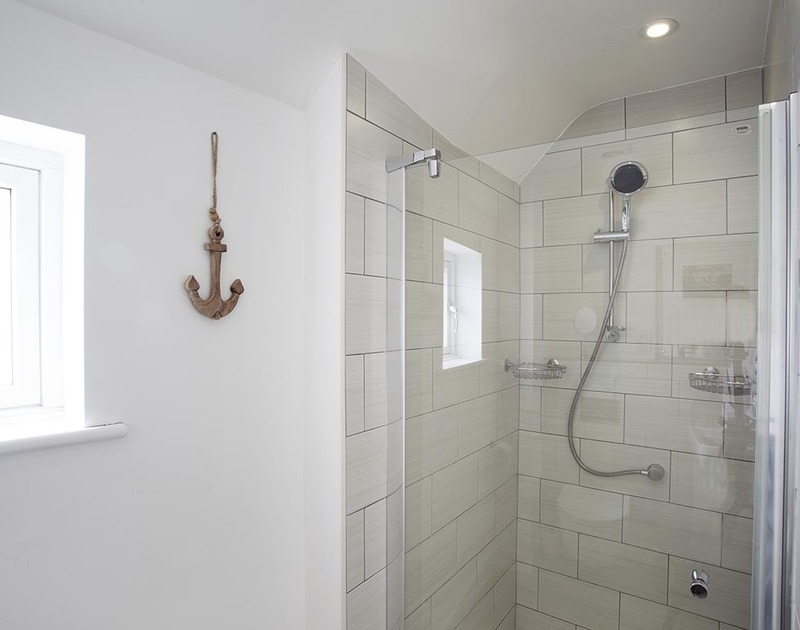 The modern shower room at The Beach Hut in Polzeath