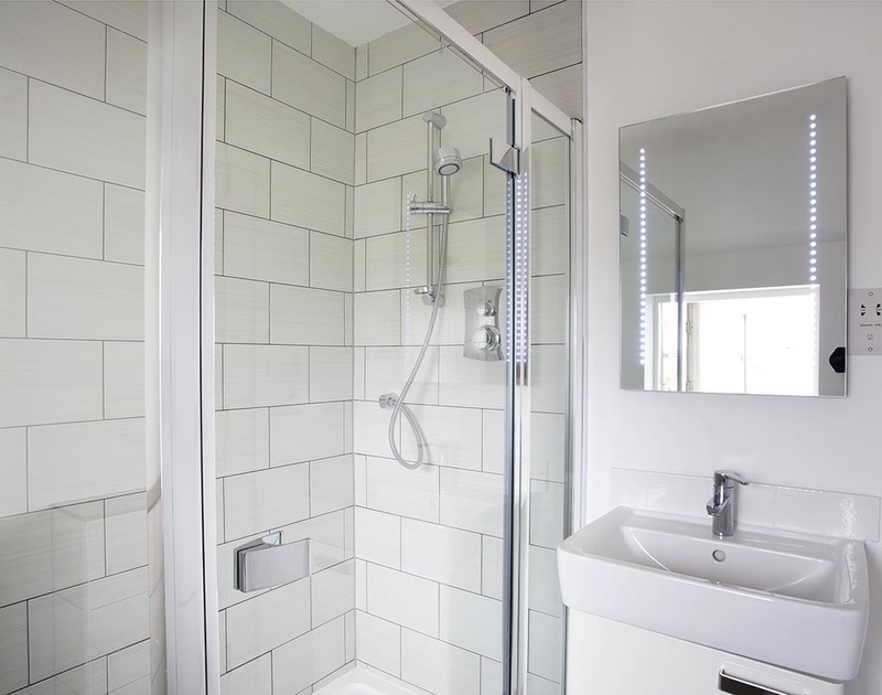 The contemporary spacious shower room in Carnweather, a self catering holiday home in Polzeath, Cornwall