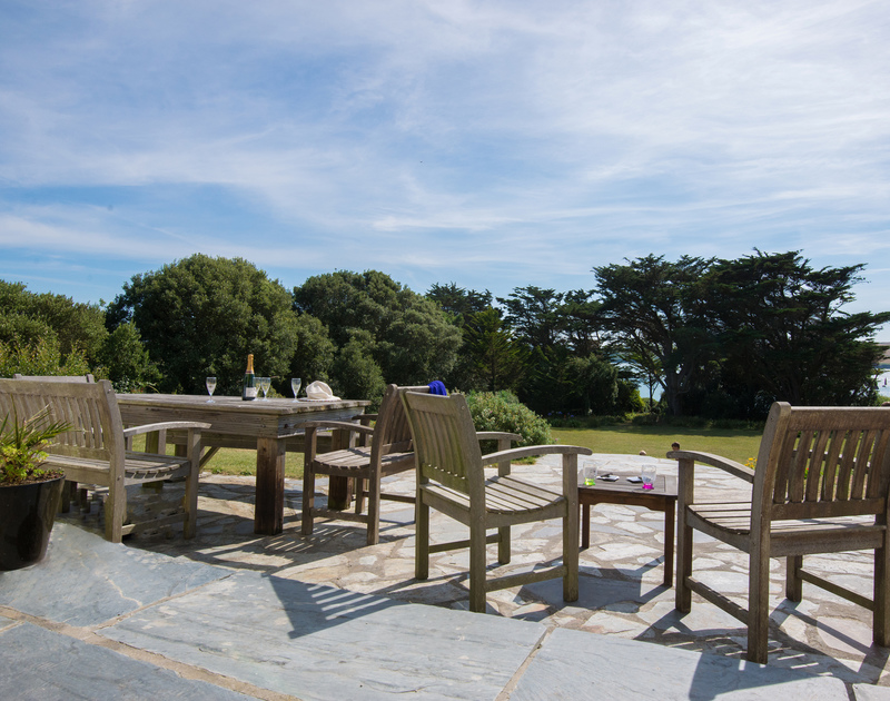 Lovely views of the Camel Estuary from the terrace of Doom Bar House, a holiday house at Daymer Bay, Cornwall
