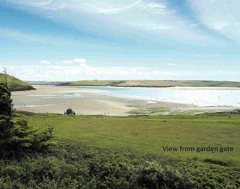 Stunning view of the Camel estuary from the garden gate of Doom Bar House, a holiday house at Daymer Bay, Cornwall