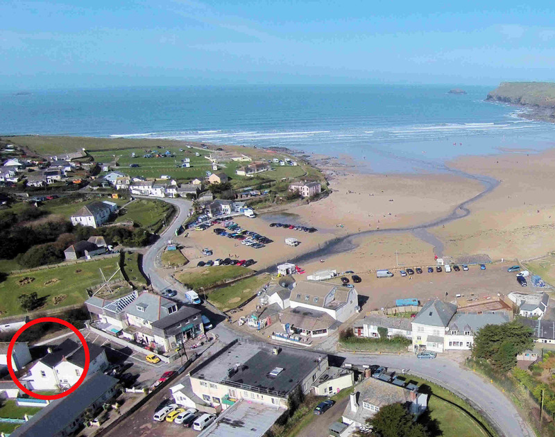 The location via an aerial perspective of Hagervor House, a newly refurbished, luxury holiday house close to the beach at Polzeath in North Cornwall.