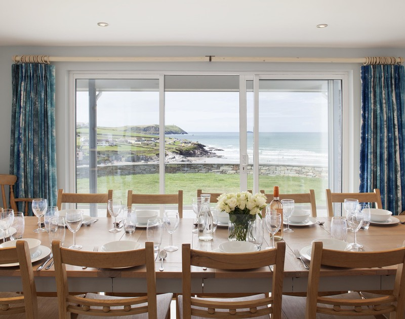 Entertain friends and family in style in the open dining area at The White House, a luxurious self catering holiday house in Polzeath.