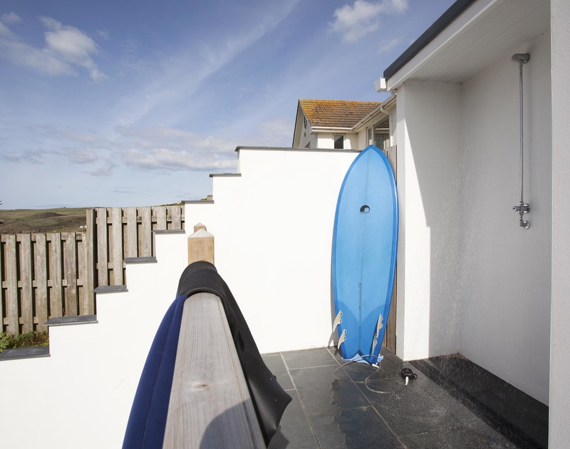 Rinse off the beach in the outdoor shower and store your boards and beach paraphernaelia at The Whitehouse, Polzeath
