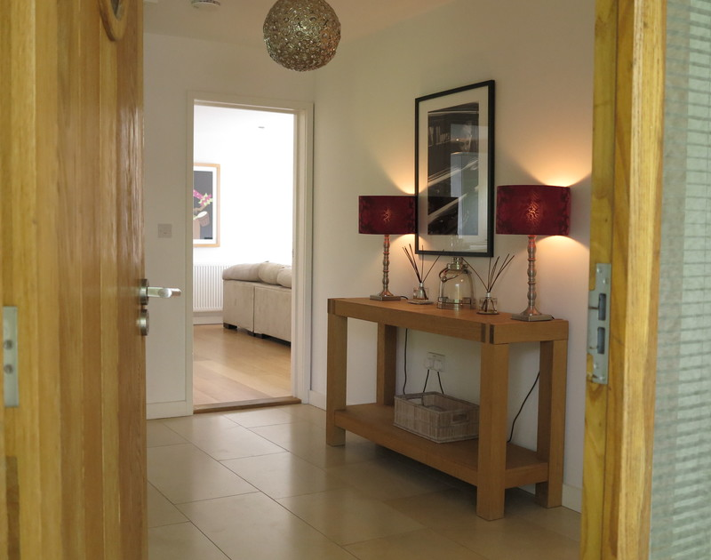 Through the front door and into the beautifully presented entrance hall at self catering holiday house The Terrace in Port Isaac, North Cornwall.
