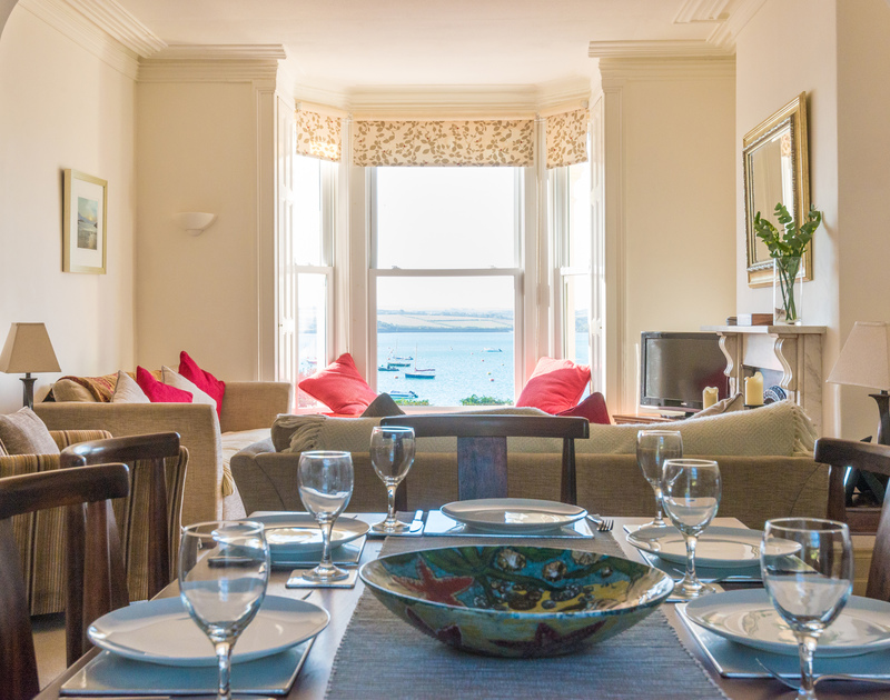 Wonderful views of Rock and the Camel Estuary through the large bay window from the open plan living and dining room at 2, The Terrace.