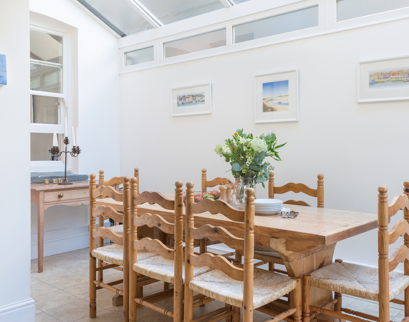 Gather the family around the light filled kitchen table at 2, The Terrace, located beside the Camel Estuary in Rock.