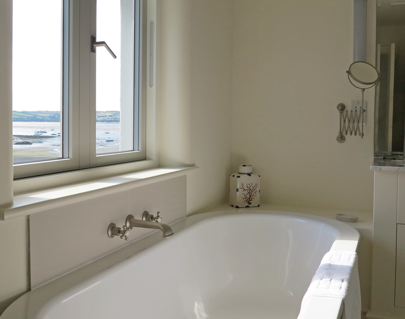 Relax and luxuriate in the wonderful sea views right from the bathtub in the master bathroom at Harbour Lights, Rock
