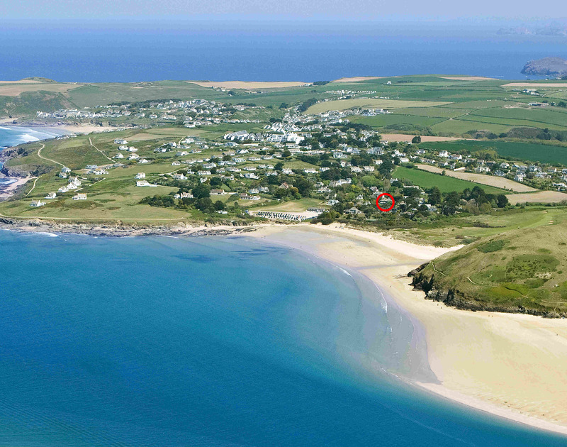A high aerial view showing Daymer Bay beach around too the Greenaway with the location marked with a red ring of Torquil, a stunning holiday house of Daymer Bay, Cornwall, with the beach in walking distance.