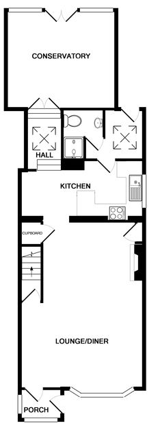 The ground floor plan for Harewood a self-catering cottage in Port Isaac, Cornwall