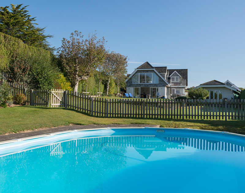 Make the most of the swimming pool and large gardens at Sea Gulls in Porthilly near Rock on the Camel Estuary