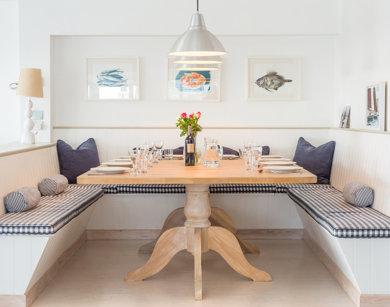 The dining area at Sea Gulls in Rock is an open plan light filled space with estuary views.