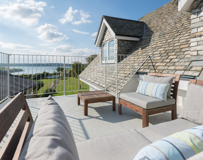 Relax on the first floor balcony at Sea Gulls in Rock and enjoy the far reaching sea views across to Padstow