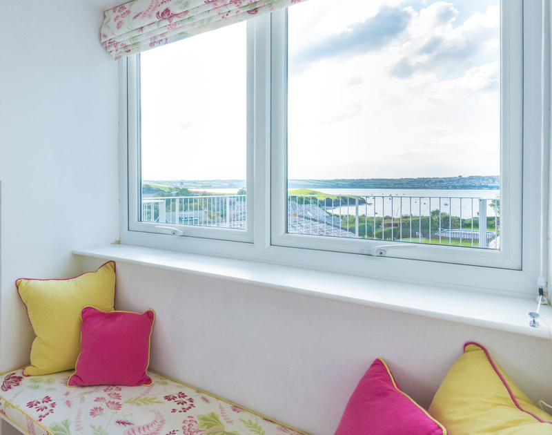 Awake to a different sea view each day in the master bedroom suite at Sea Gulls in Rock, which looks across the estuary to Padstow