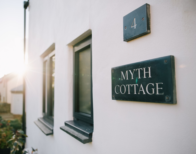 The name plaque of Myth Cottage - a traditional holiday cottage in rock, Cornwall with a stylish modern twist