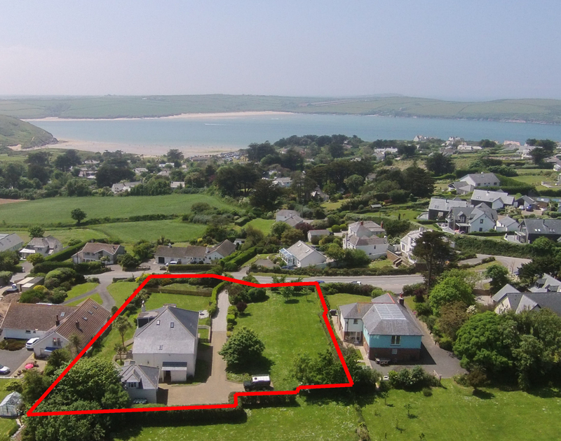 An aerial view of The Haven, a self-catering holiday house near Daymer Bay, Cornwall, with the Camel Estuary close by.