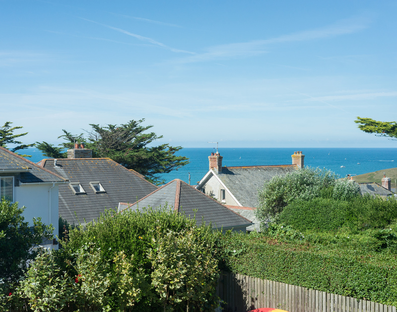 Enjoy spectacular views of the Atlantic Ocean from the first floor master bedroom window at Borlase in New Polzeath