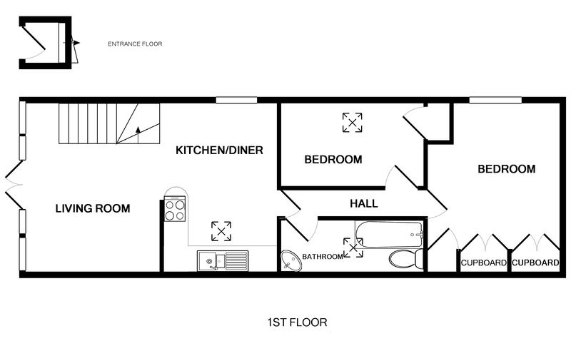 The floor plan of Gully Lofts, a first floor holiday apartment in Port Isaac