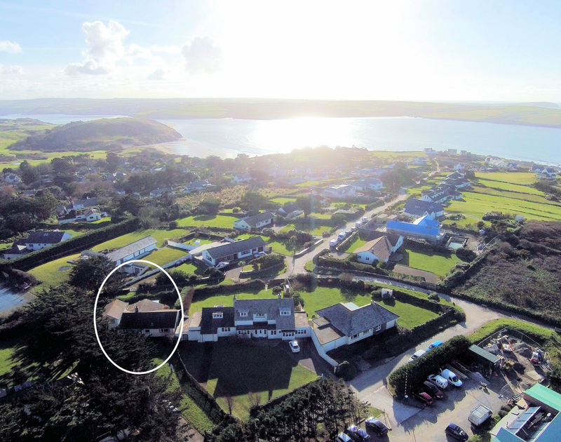 Aerial photo of Brae Heights, a well-positioned self catering holiday home in Daymer Bay, Cornwall.