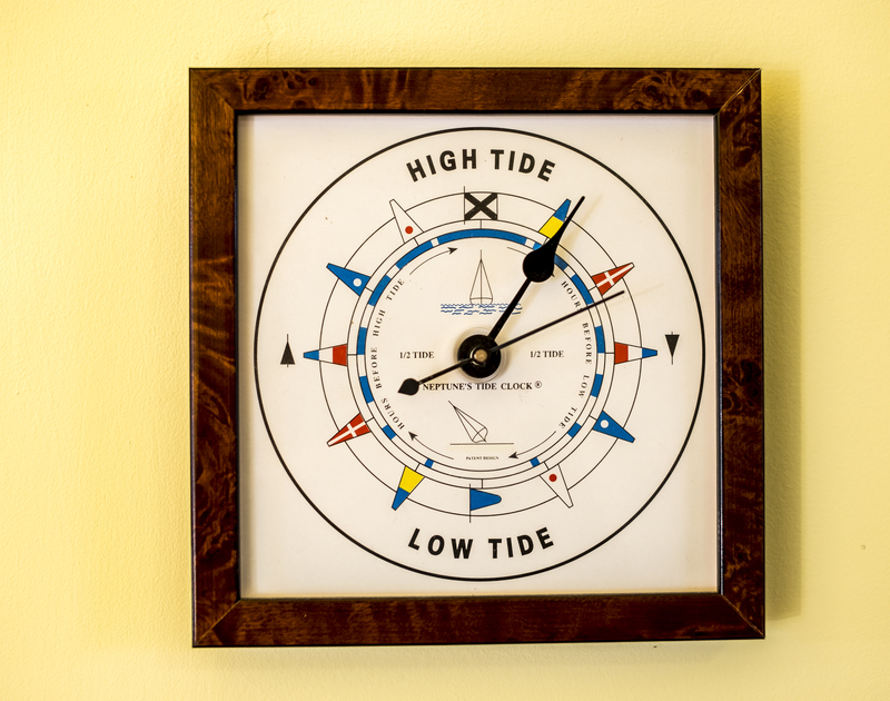 A tide clock at Owls Rest belies the holiday home's proximity to the sea and Camel estuary in north Cornwall