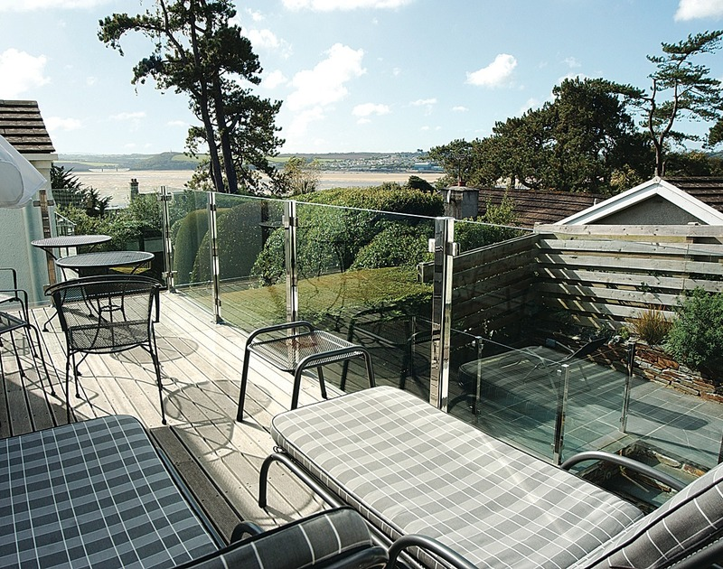 Soak up the sun and the views over Rock, North Cornwall from the modern glass balcony at Lyonesse.