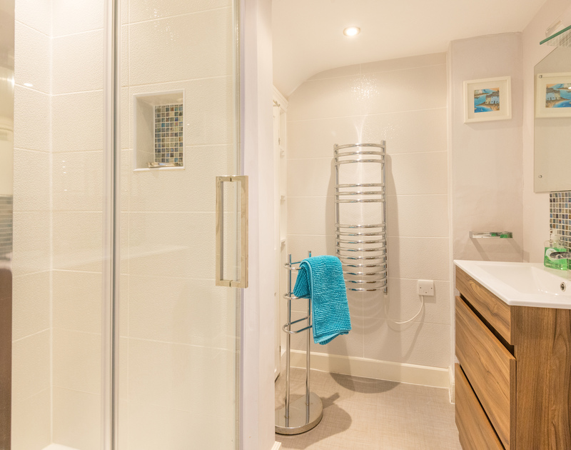 The luxury designed shower room at The View, a contemporary self catering holiday apartment in Port Isaac, Cornwall.