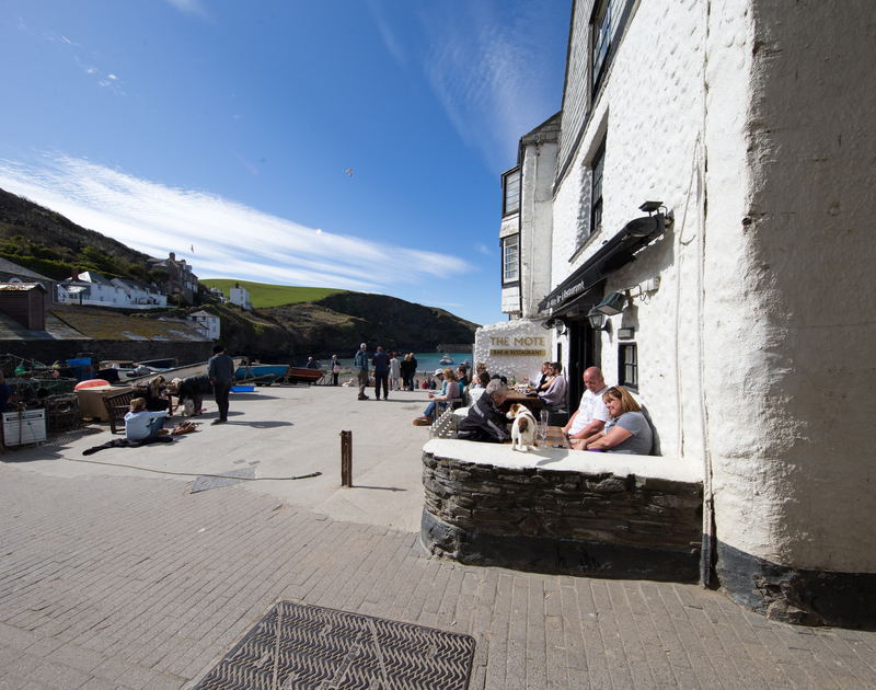 The pretty fishing harbour slipway and restaurant at Port Isaac, a moments walk from Cloam Cottage, a holiday rental in North Cornwall.