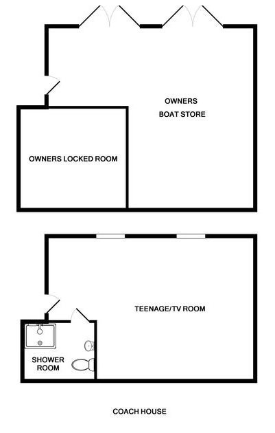 The floor plan for the annex accommodation coach house at Ossco, Lundy Bay near Polzeath.