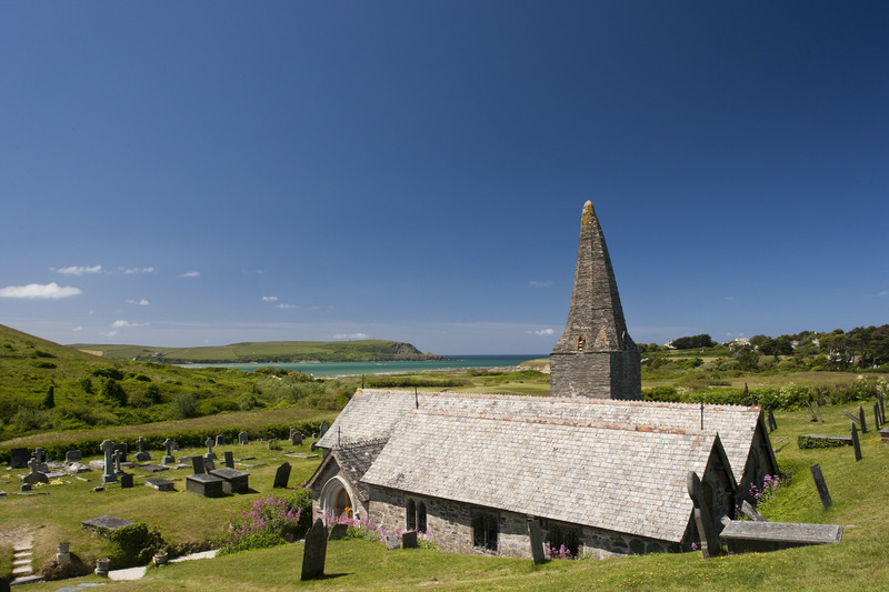 The 15th Century St Enodoc Church in Daymer Bay is the resting place of the late Poet Laureate Sir John Betjeman