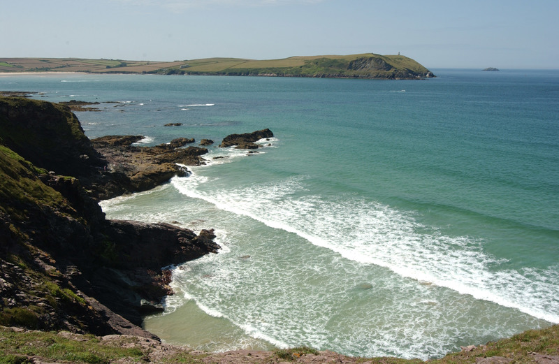 A view towards Stepper Point showing the mouth of the Camel Estuary.