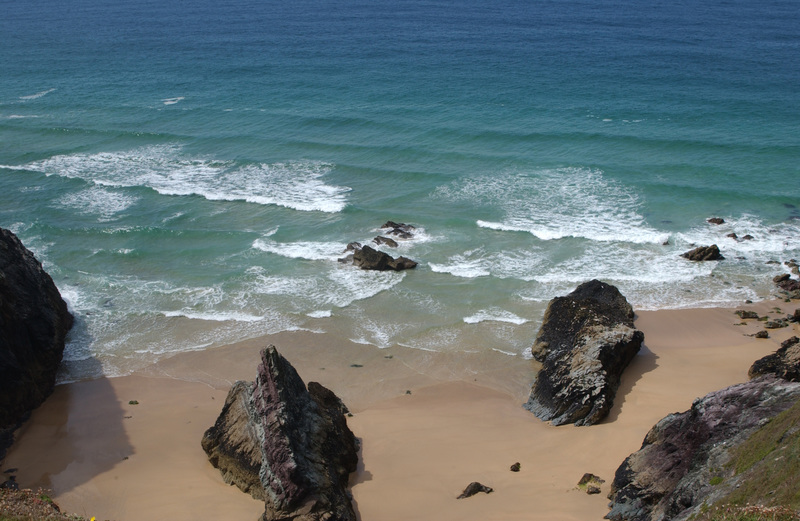 Butter Hole, near Padstow, was once a sea cave that collapsed due to the wave power and is now a sandy cove