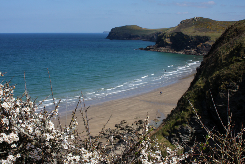 The end of the walk at beautiful Lundy Bay looking towards Trevan Point and Kellan Head- Image iWalk Cornwall