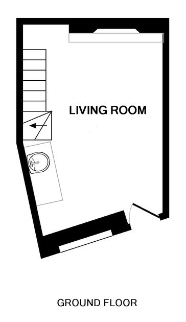 The ground floor plan for The Bakehouse, a self catering holiday cottage in Port Isaac, North Cornwall.