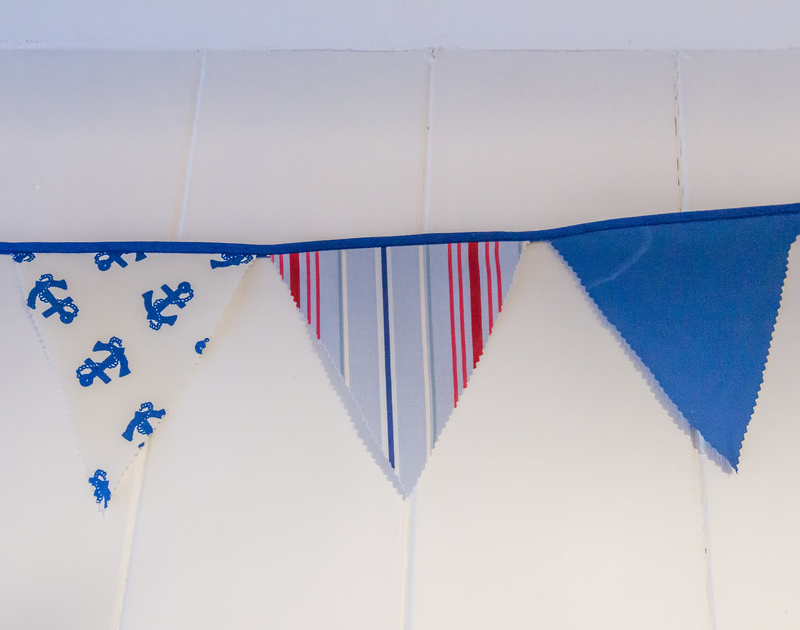 Nautical style bunting in Cloam Cottage, a charming holiday let in Port Isaac