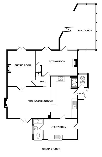 The ground floor plan for Signal Post, a self catering holiday house to rent in Port Isaac on the North Cornwall Coastline.