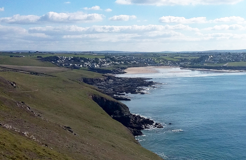 The stunning view from Pentire Point as you look back towards the sandy beach at Polzeath in North Cornwall