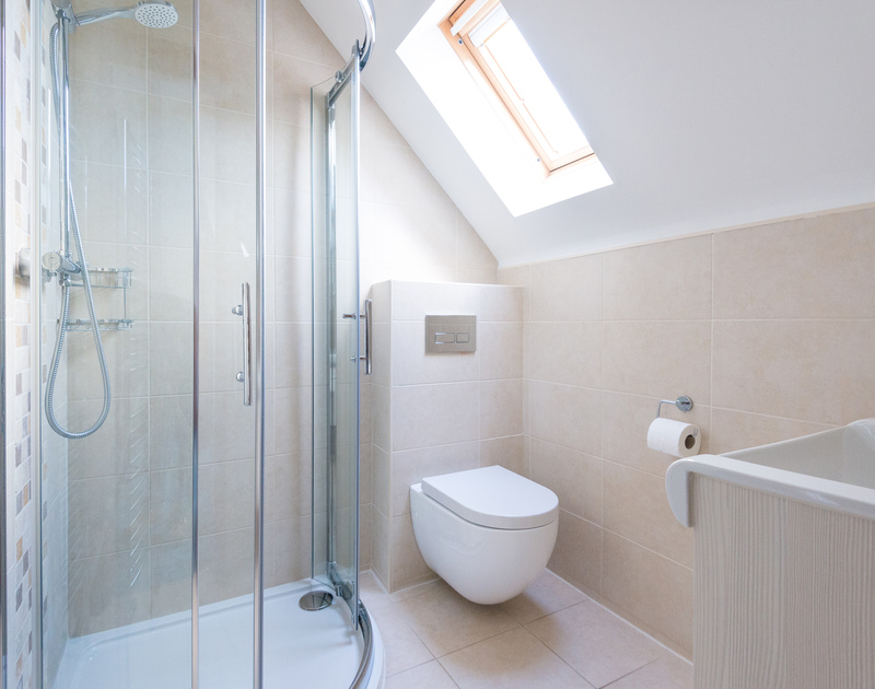 Rinse off in Dolphin Cottage's contemporary style ensuite shower room, with velux window.