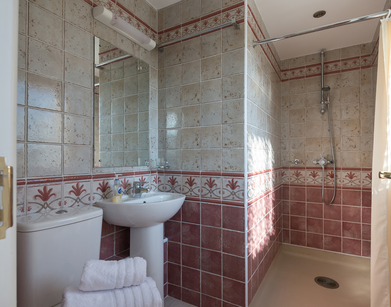 Attractive decorative tiling in the shower room next to the ground floor double bedroom